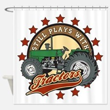 Still Plays with Tractors Green Shower Curtain