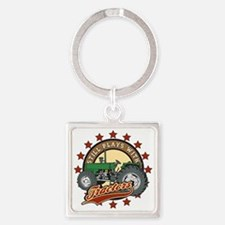 Still Plays with Tractors Green Square Keychain