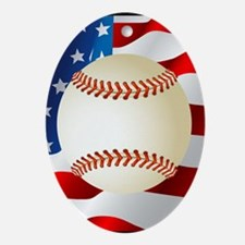 Baseball Ball On American Flag Ornament (Oval)