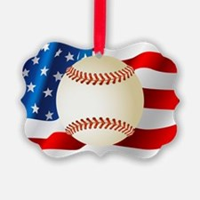 Baseball Ball On American Flag Ornament
