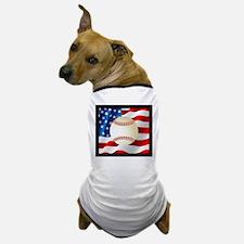 Baseball Ball On American Flag Dog T-Shirt