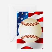 Baseball Ball On American Flag Greeting Cards