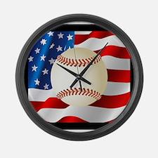 Baseball Ball On American Flag Large Wall Clock