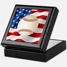 Baseball Ball On American Flag Keepsake Box