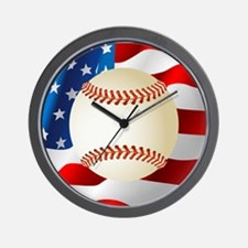 Baseball Ball On American Flag Wall Clock