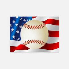 Baseball Ball On American Flag 5'x7'Area Rug