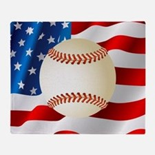 Baseball Ball On American Flag Throw Blanket