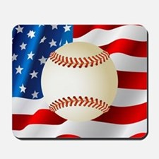 Baseball Ball On American Flag Mousepad
