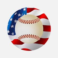 Baseball Ball On American Flag Button