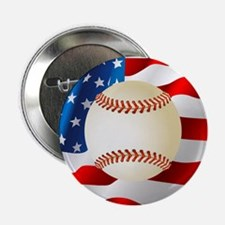"""Baseball Ball On American Flag 2.25"""" Button (10 pa"""