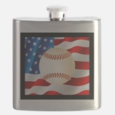 Baseball Ball On American Flag Flask