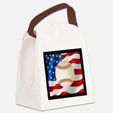 Baseball Ball On American Flag Canvas Lunch Bag