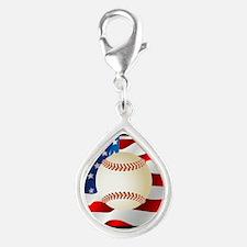 Baseball Ball On American Flag Charms