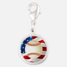 Baseball Ball On American Flag Charms