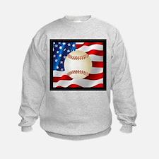 Baseball Ball On American Flag Sweatshirt