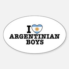 I Love Argentinian Boys Oval Decal