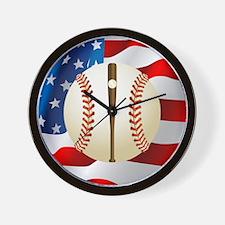 Baseball Ball On American Flag Wall Clock