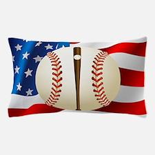 Baseball Ball On American Flag Pillow Case