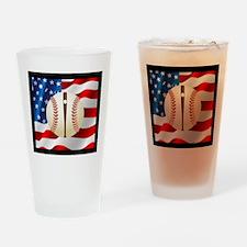 Baseball Ball On American Flag Drinking Glass