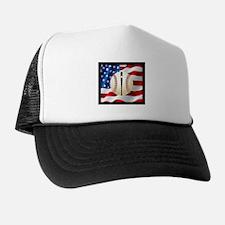Baseball Ball On American Flag Trucker Hat