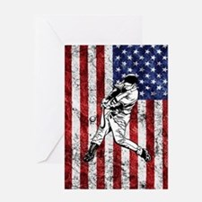 Baseball Player On American Flag Greeting Cards