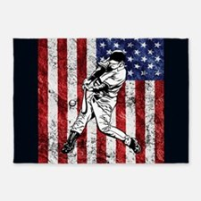 Baseball Player On American Flag 5'x7'Area Rug