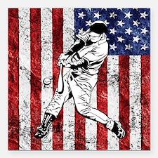 Baseball Player On American Flag Square Car Magnet