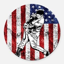 Baseball Player On American Flag Round Car Magnet