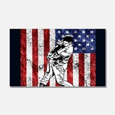 Baseball Player On American Flag Car Magnet 20 x 1