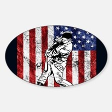 Baseball Player On American Flag Decal