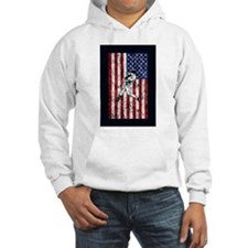 Baseball Player On American Flag Hoodie