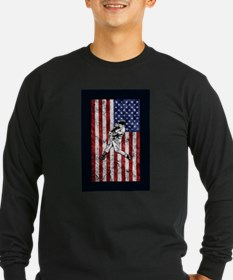 Baseball Player On American Flag Long Sleeve T-Shi