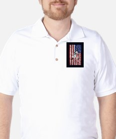 Baseball Player On American Flag T-Shirt
