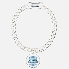 Diving is my World Charm Bracelet, One Charm