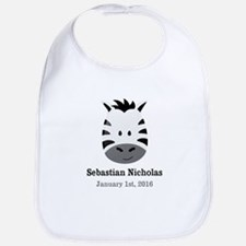 CUSTOM Zebra w/Name Date Bib