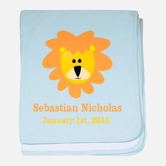CUSTOM Lion w/Baby Name and Birth Date baby blanke