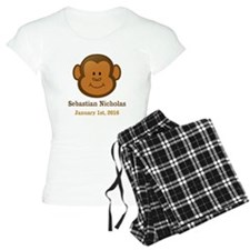 CUSTOM Monkey w/Baby Name and Birthdate Pajamas