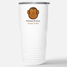 CUSTOM Monkey w/Baby Name and Birthdate Travel Mug