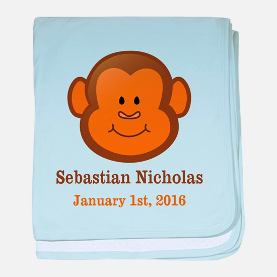 CUSTOM Monkey w/Baby Name and Birthdate baby blank