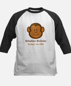 CUSTOM Monkey w/Baby Name and Birthdate Baseball J