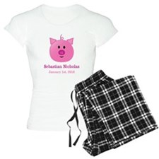 CUSTOM Pig w/Baby Name and Birthdate Pajamas