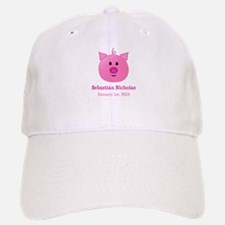 CUSTOM Pig w/Baby Name and Birthdate Baseball Baseball Baseball Cap