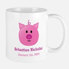CUSTOM Pig w/Baby Name and Birthdate Mugs