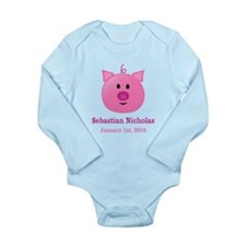 CUSTOM Pig w/Baby Name and Birthdate Body Suit