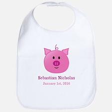 CUSTOM Pig w/Baby Name and Birthdate Bib