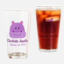 CUSTOM Hippo w/Baby Name and Birthdate Drinking Gl