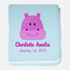 CUSTOM Hippo w/Baby Name and Birthdate baby blanke