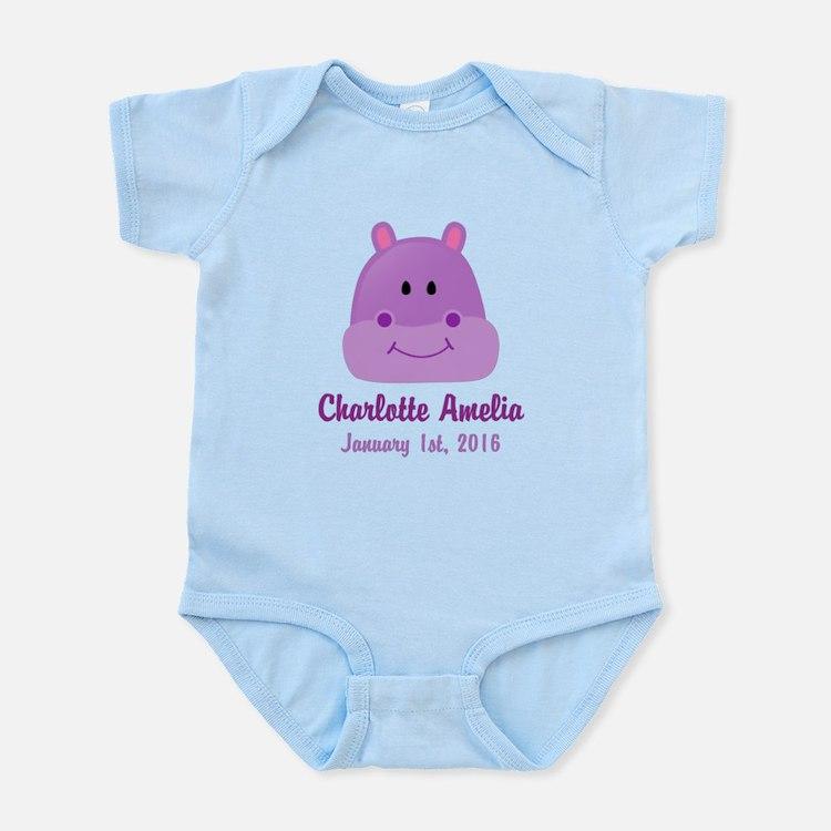 CUSTOM Hippo w/Baby Name and Birthdate Body Suit