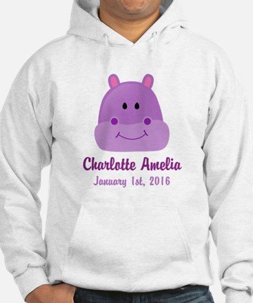 CUSTOM Hippo w/Baby Name and Birthdate Hoodie