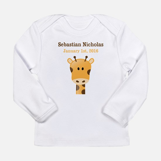 CUSTOM Giraffe w/Baby Name and Birthdate Long Slee